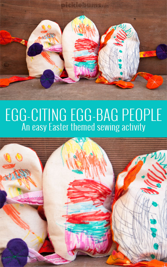 Egg-bag people Easter themed sewing activity
