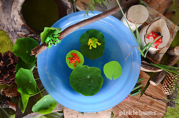 Frog pond small world - an easy imaginative play set up plus bonus extension ideas