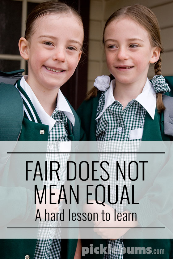 Fair does not mean equal - a hard but important lesson to learn.