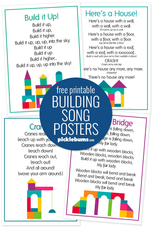 free printable building song posters