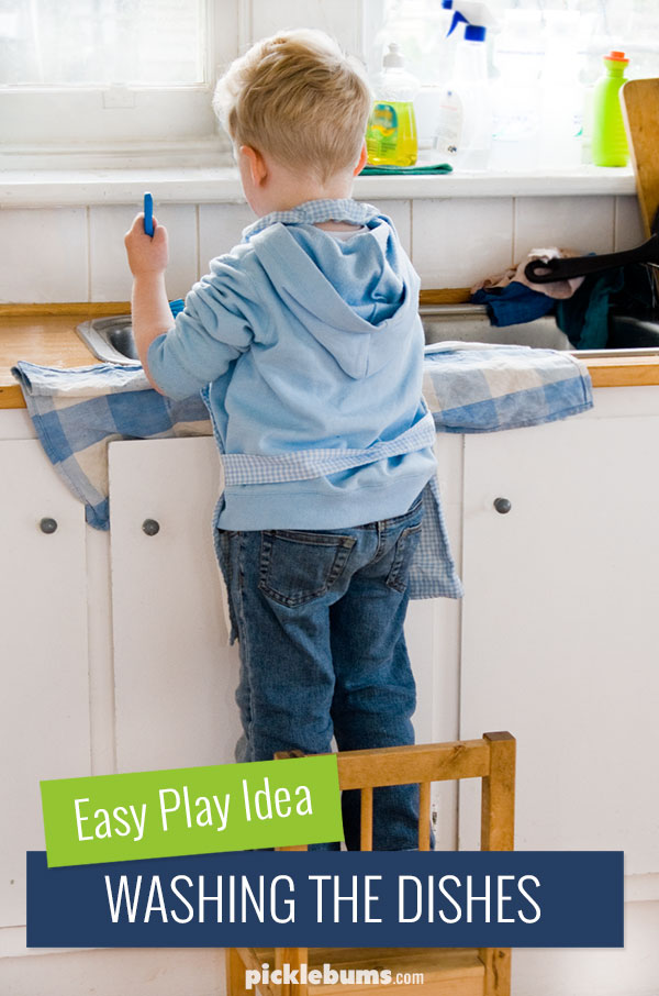Easy Water Play Idea for Kids - washing the dishes