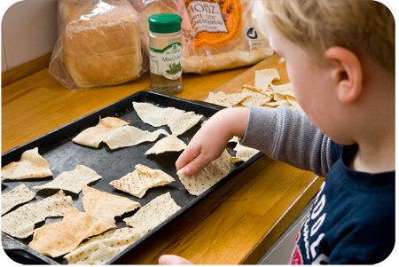 cooking with kids Pita Chips
