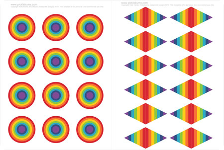 rainbow party printable cup cake toppers