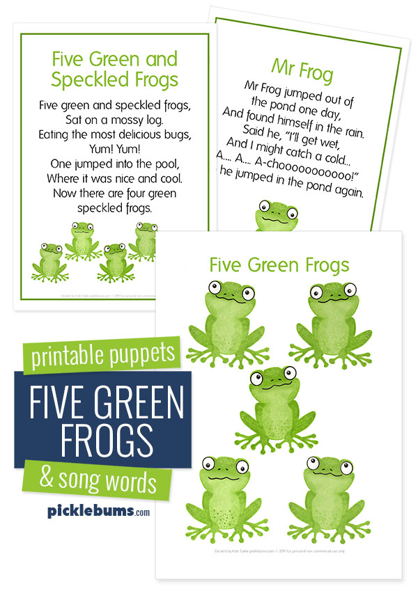 Five green frogs printable puppets and song words