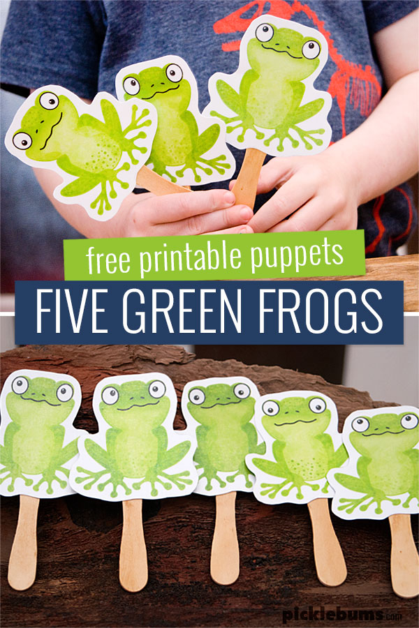 Five green frogs printable puppets