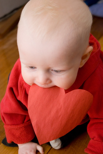 baby eating heart