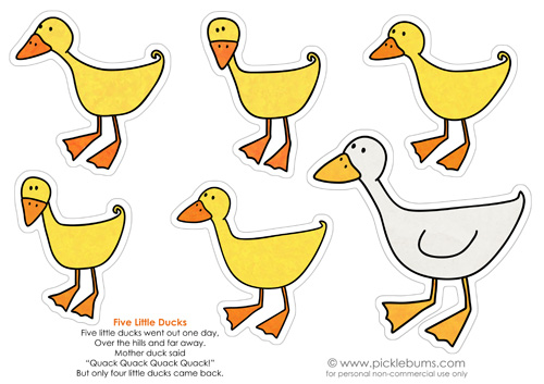 image about Printable Duck identified as 5 Very little Ducks Printable Puppets. - Pickles