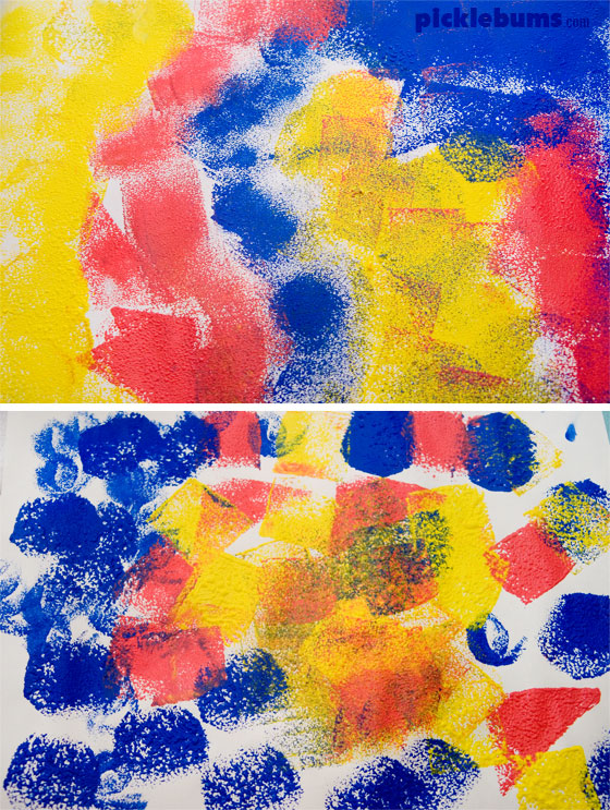 Sponge Printing - And easy art activity with DIY peg and sponge painters