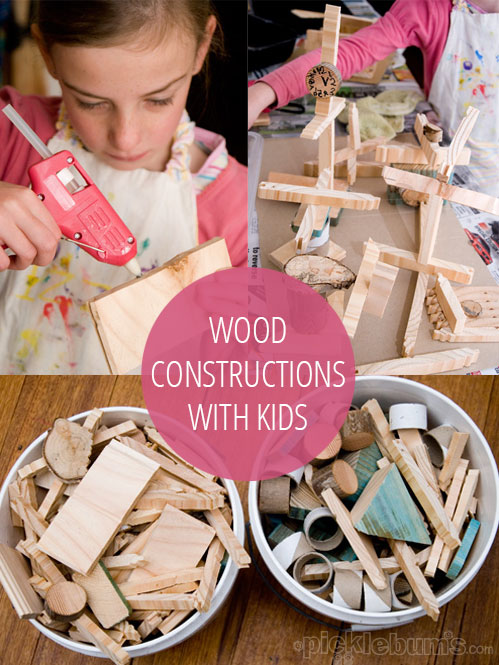 Making wood scrap constructions