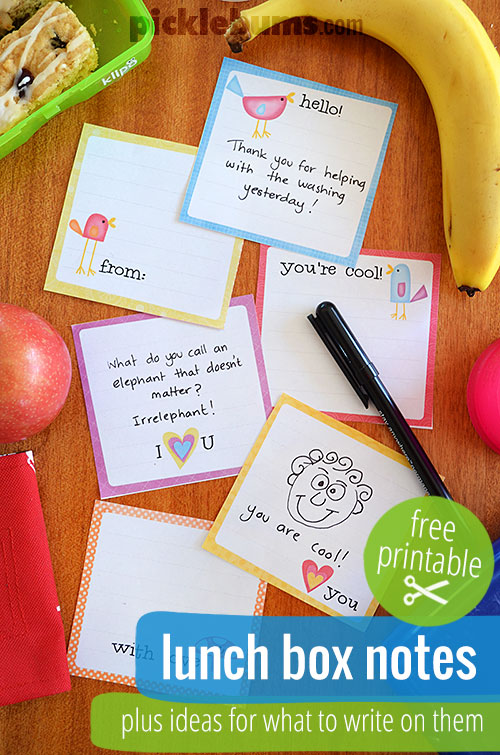 Free printable lunch box notes... plus some ideas of what to write on them!