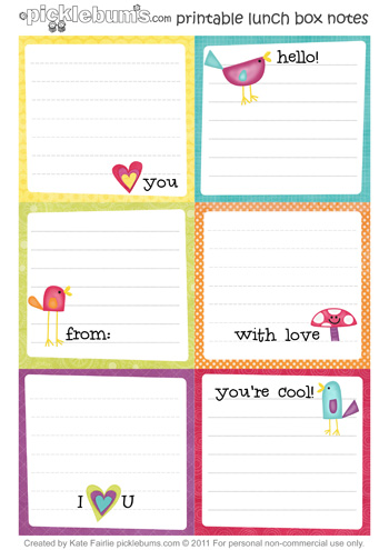 photo about Printable Note identify Printable Lunch Box Notes - Pickles