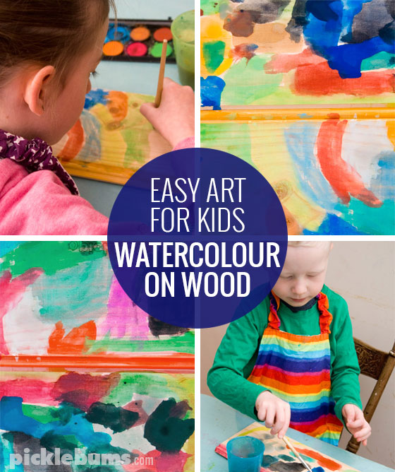 Watercolours on wood - an easy art activity for kids