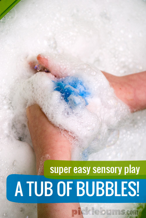 Super easy sensory play - A tub of bubbles