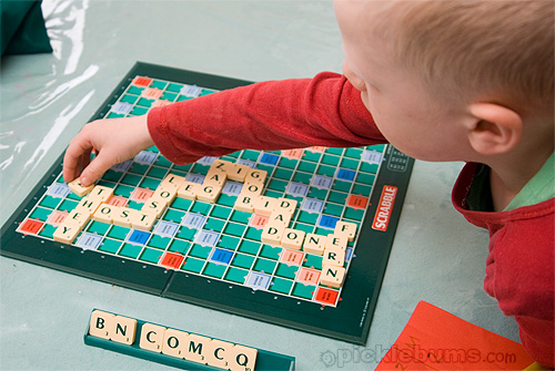 playing scrabble with kids