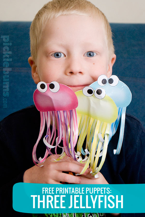 Three jellyfish printable puppets picklebums for Funny fishing songs