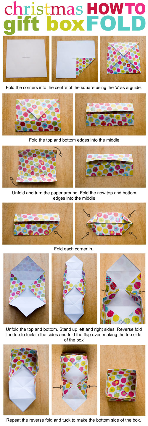 printable gift box - how to fold