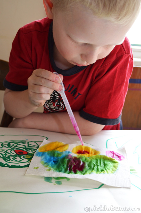 easy art for kids - dropper painting
