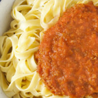 Lentil-ese - vegetarian spaghetti bolognese. You won't believe this easy sauce has no meat in it!