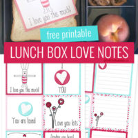 free printable lunch box love notes