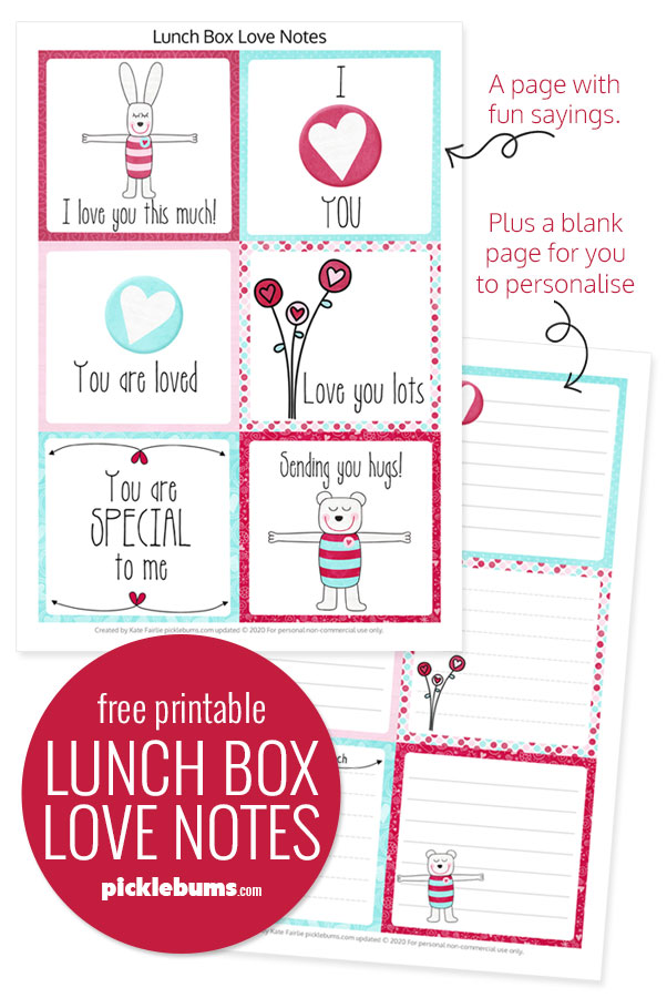 Free printable Valentines lunch box notes