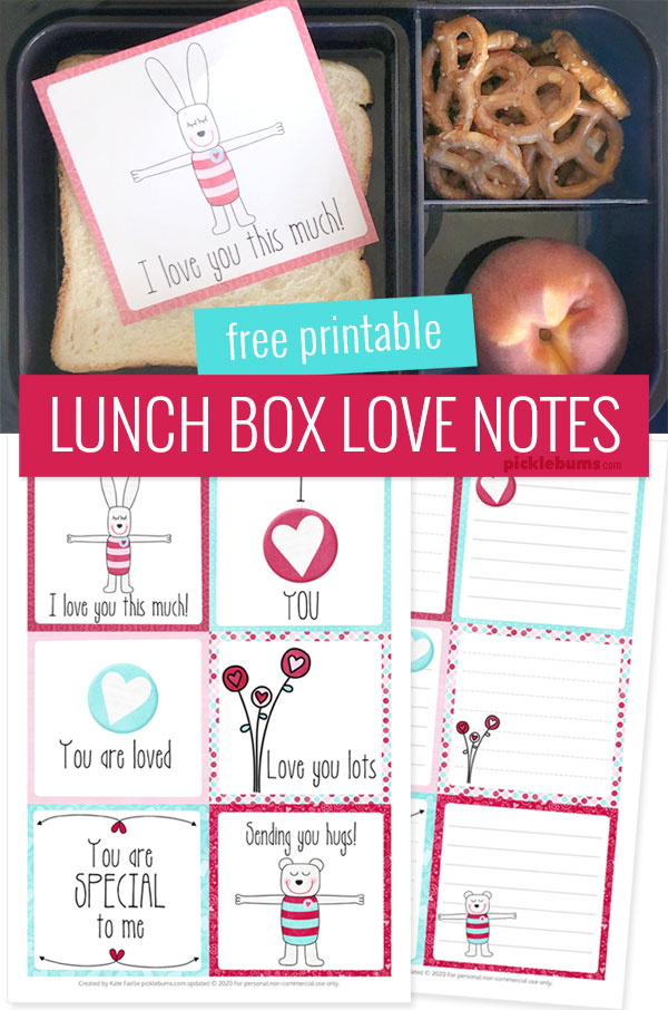 free printable Valentine's Day lunch box notes