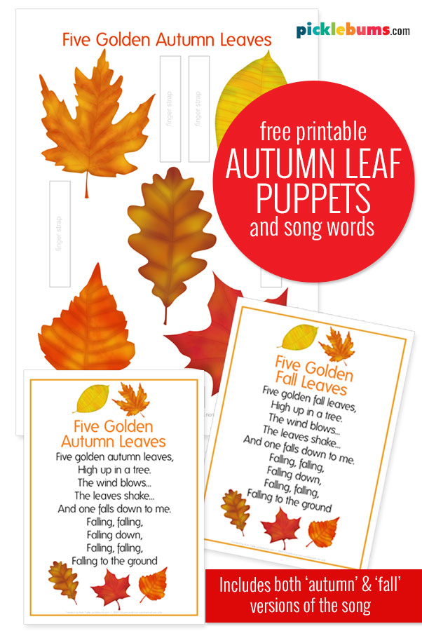 autumn leaf printable puppets and song words
