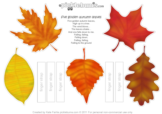 photograph regarding Free Printable Fall Leaves called Printable Autumn Leaf Puppets and a Track - Pickles