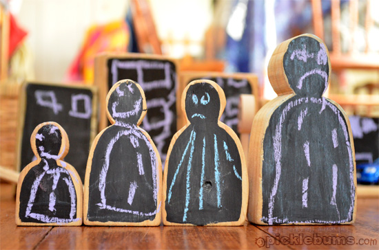 chalk board block people