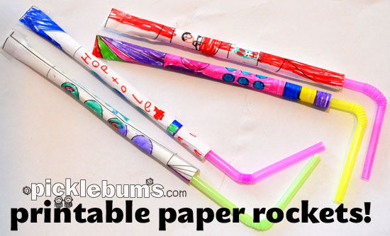 photograph regarding Rocket Template Printable named Printable Paper Rockets! - Pickles