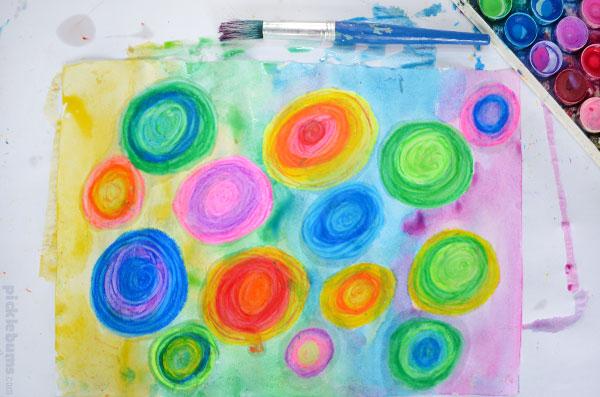 crayon resist pastel painting