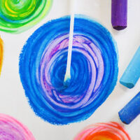 painting with oil pastels