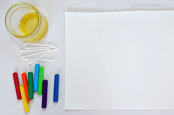 oil pastel painting materials paper, oil, cotton buds, oil pastels