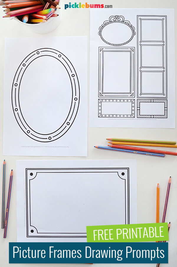 free printable frame drawing prompts with pencils