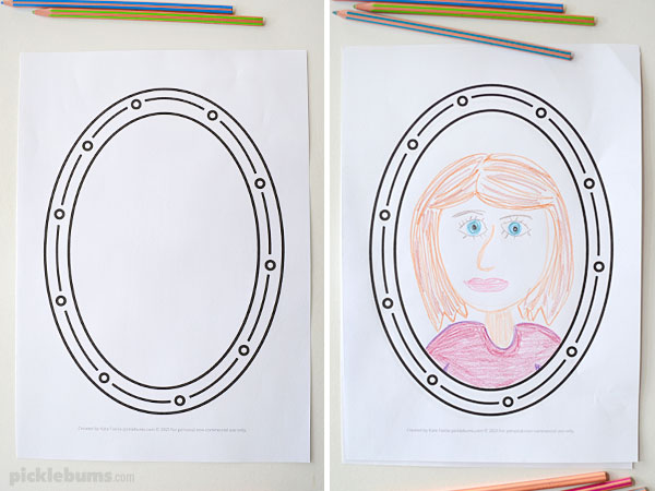 Oval frame drawing prompt without and with drawing