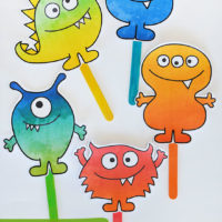 Free printable monster puppets.