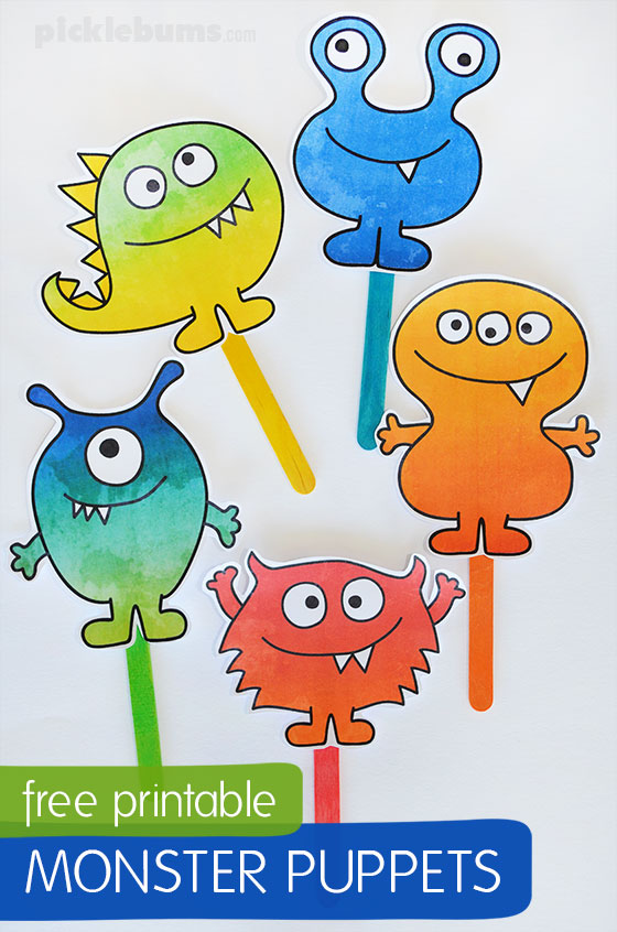 picture about Printable Monster named No cost Printable Monster Puppets - Pickles