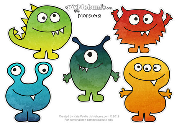 image regarding Printable Monster known as Free of charge Printable Monster Puppets - Pickles