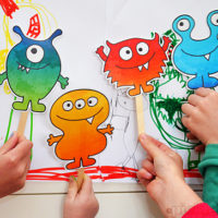Play with these fun free printable monster puppets