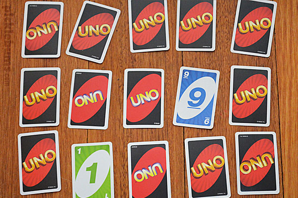 Memory game with uno cards