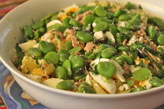 broad beans pasta salad