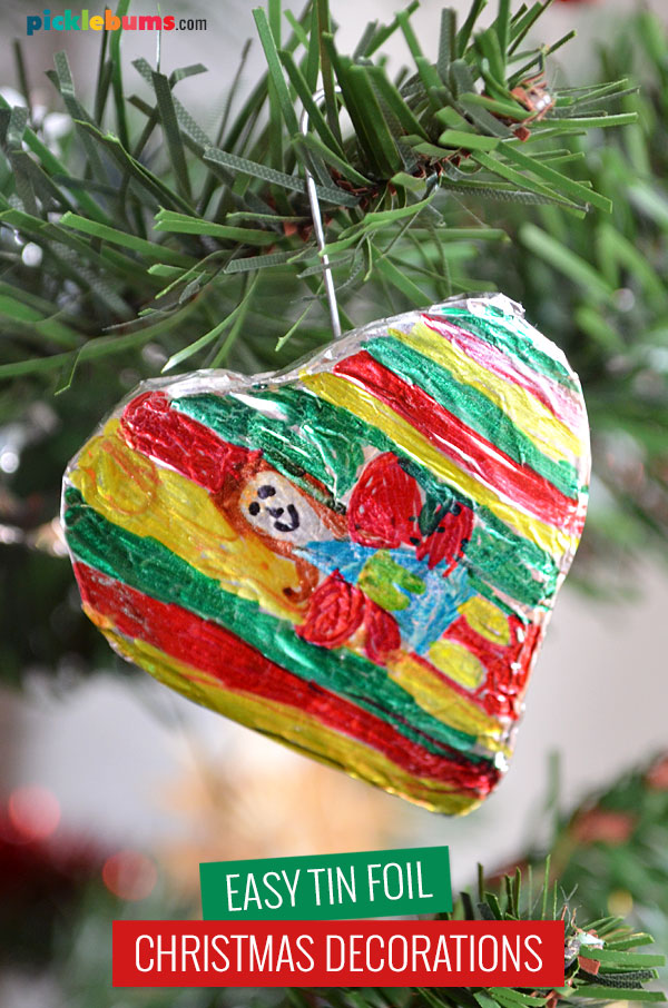 foil decoration hanging on the tree