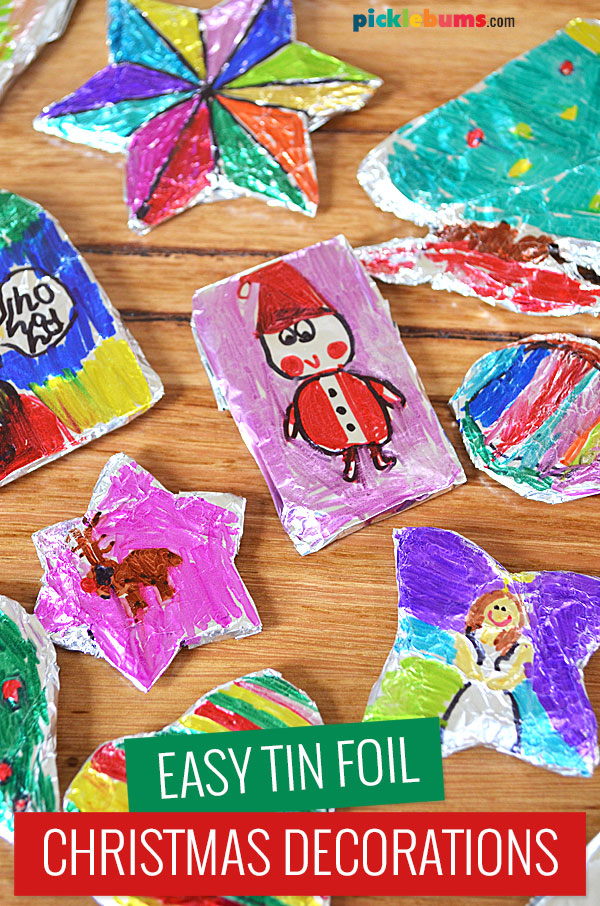 christmas decorations made from foil and markers by a child