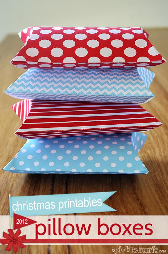 2012 Christmas Printables Print And Fold Pillow Boxes Picklebums