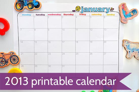 free printable calendar 2013