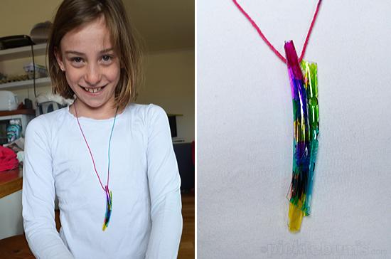 melted bottle necklace