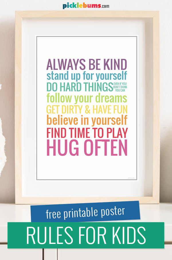rules for kids printable poster in a wood frame