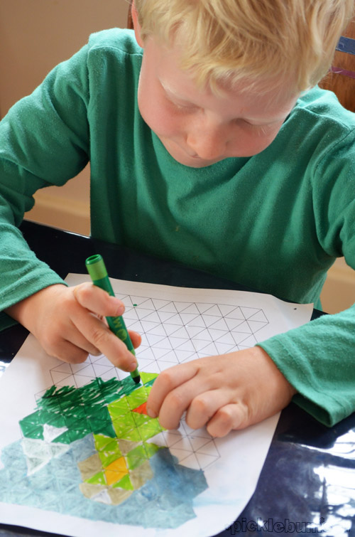 graph paper drawing and easy art activity where art and maths combine