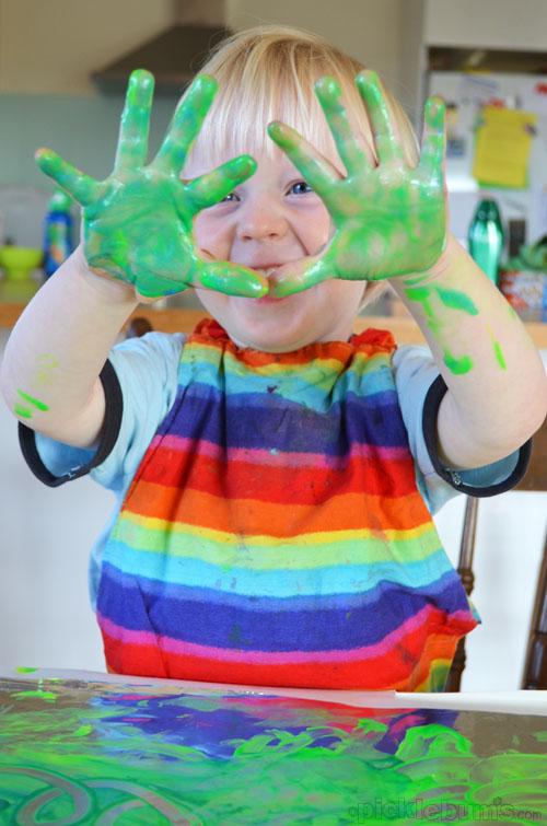 Finger Painting on Foil - slippy slidey fun!