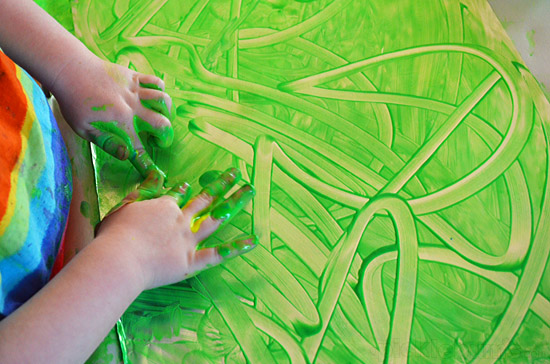 Finger Painting on Foil! Slippy slidy fun!