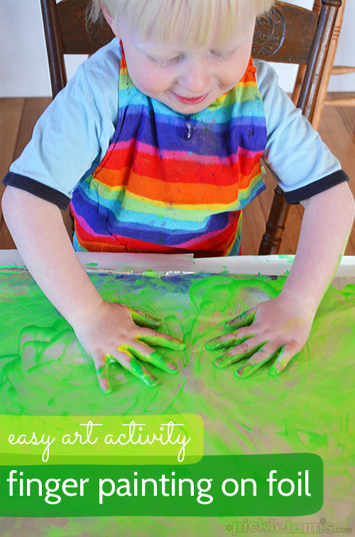 Finger Painting on Foil! Super easy art activity!